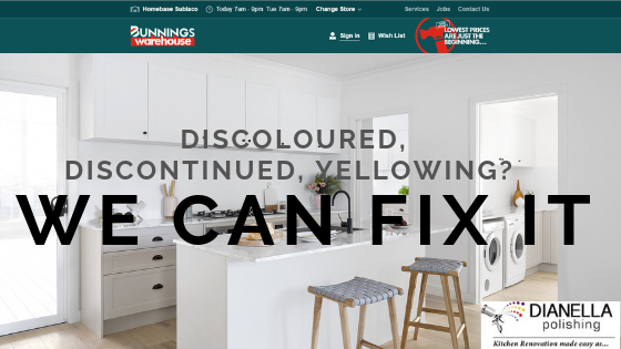 If your Bunnings Kaboodle Kitchen is Discoloured, Discontinued, Yellowing - we can help you. At Dianella Polishing we match and paint all kitchen colours, cabinets and styles.
